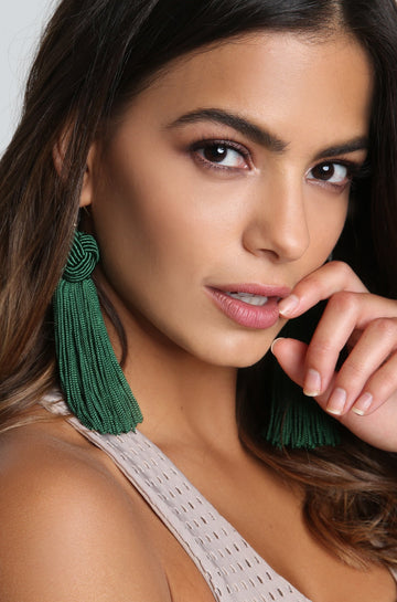 Tassel Earrings in Emerald