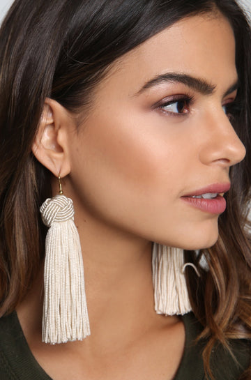 Tassel Earrings in Ivory