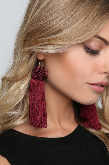 Tassel Earrings in Wine