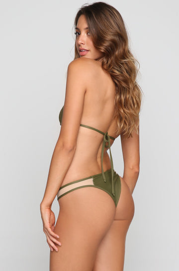 Mesh Bikini Bottom in Army