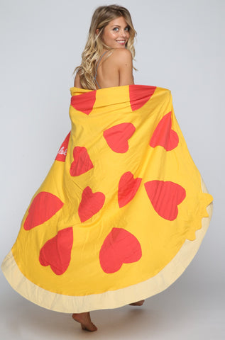 Pizza Blanket with Heart Pepperonis