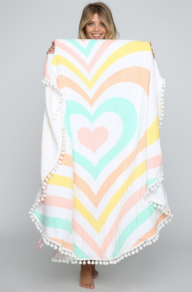 Rainbow Heart Towel with Pom Pom Trim