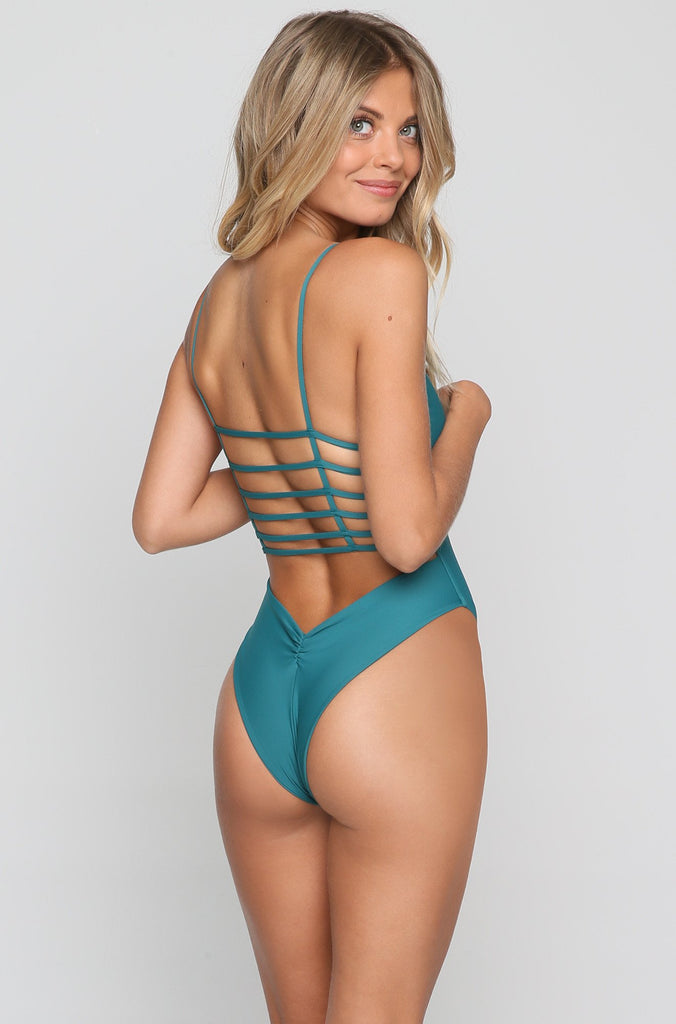 Cage One-Piece in Emerald