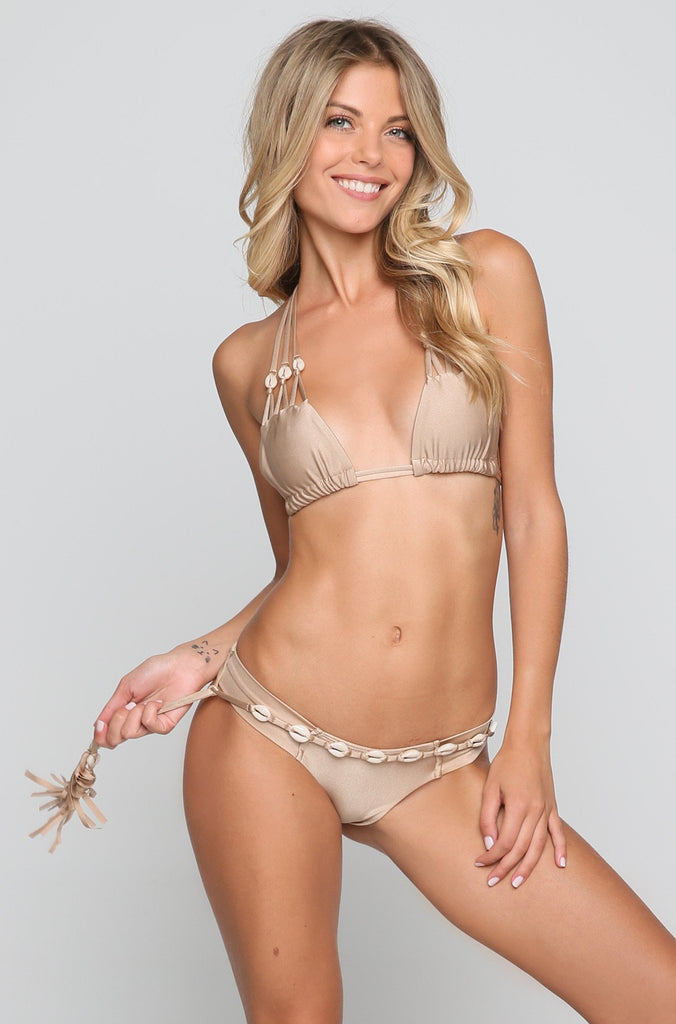 SYD Shells Bikini Top in Dark Sand