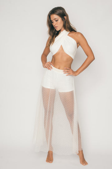 Peekaboo Halter Swim Skirt Set in Ivory Dot