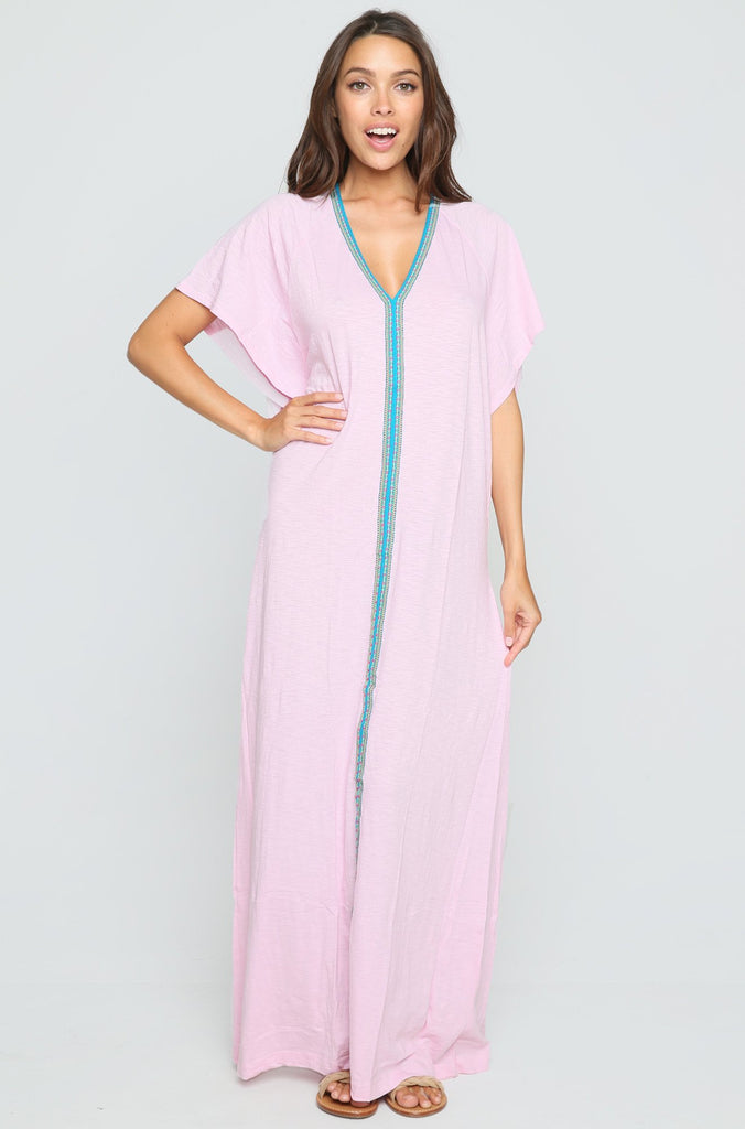 Pima Inca Abaya Maxi Dress in Light Pink