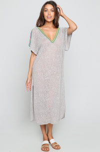V Back Maxi Dress in Grey