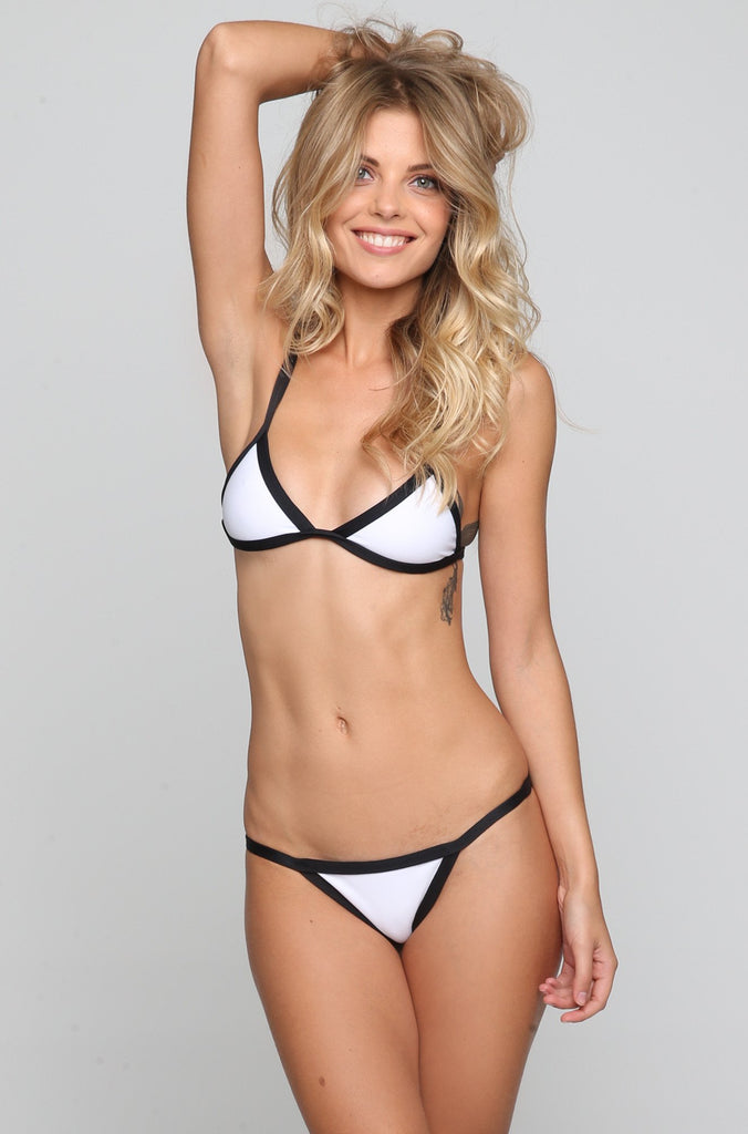 Posh Pua Kainalu Bikini Bottom in Bright White/Black|ISHINE365 - 2