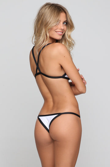 Posh Pua Kainalu Bikini Bottom in Bright White/Black|ISHINE365 - 1