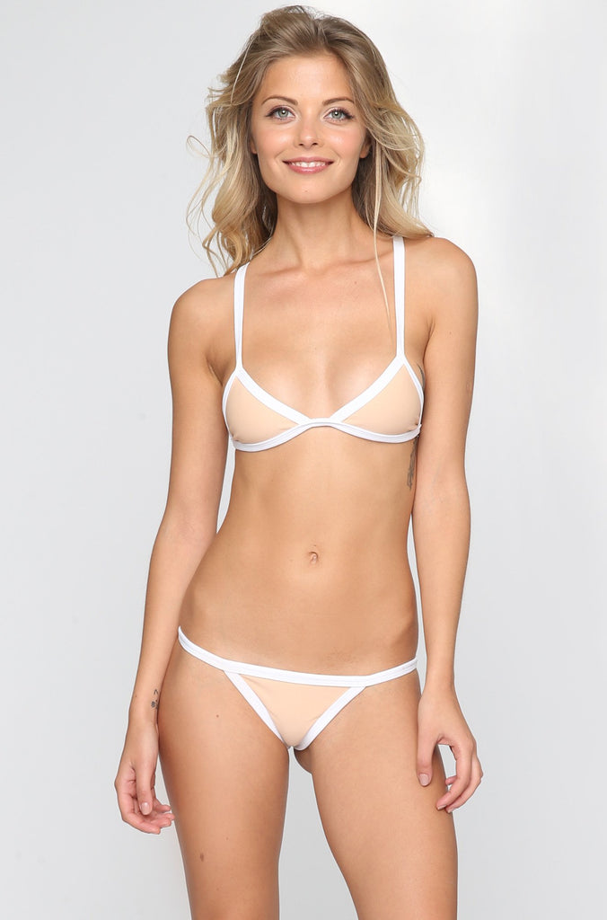 Posh Pua Kainalu Bikini Bottom in Bare/White|ISHINE365 - 3