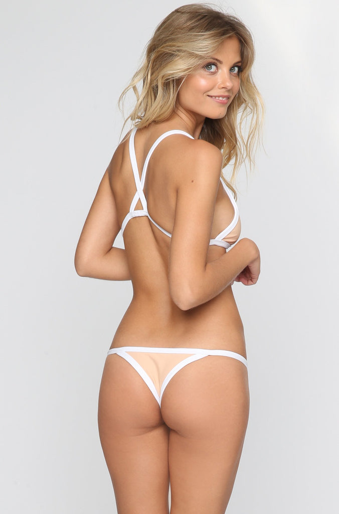 Posh Pua Kainalu Bikini Bottom in Bare/White|ISHINE365 - 4