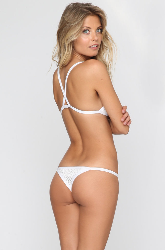 Kainalu Crochet Bikini Bottom in Bright White