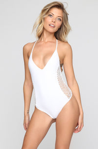 Posh Pua Pa'akai One Piece in Bright White|ISHINE365 - 1