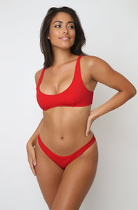 Rachel Top in Ribbed Red