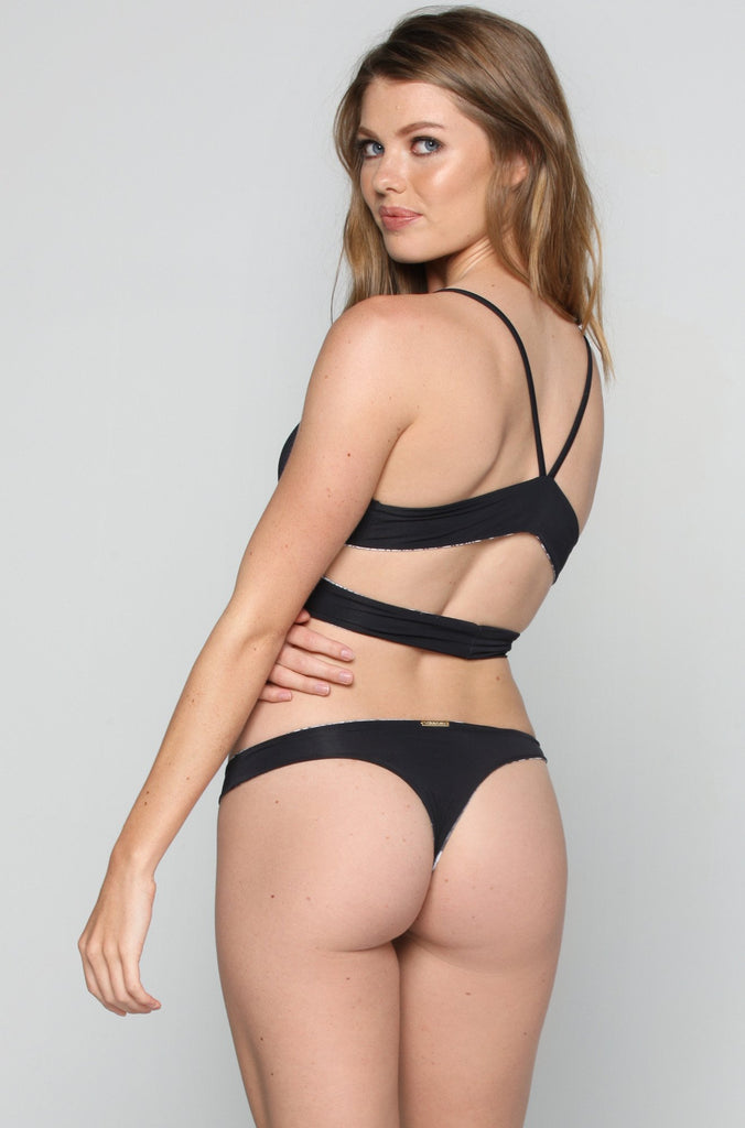 Caged Thong Bottom in Onyx
