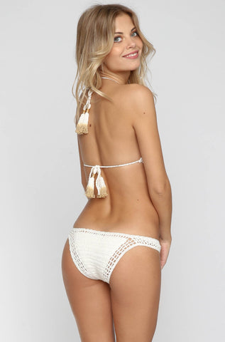Crochet Cheeky Bikini Bottom in Natural