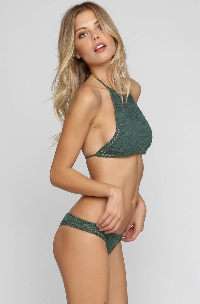 Open Halter Bikini Top in Emerald