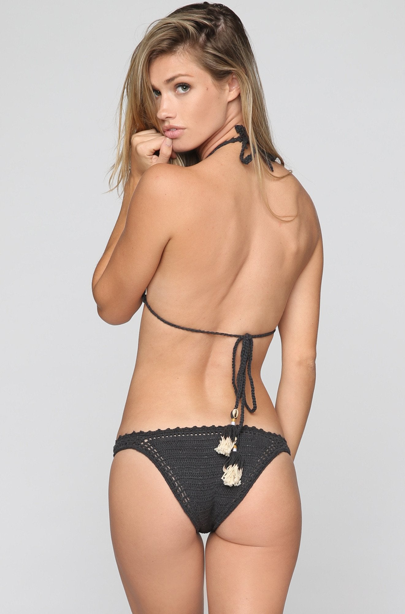 Crochet Cheeky Bikini Bottom in Charcoal.