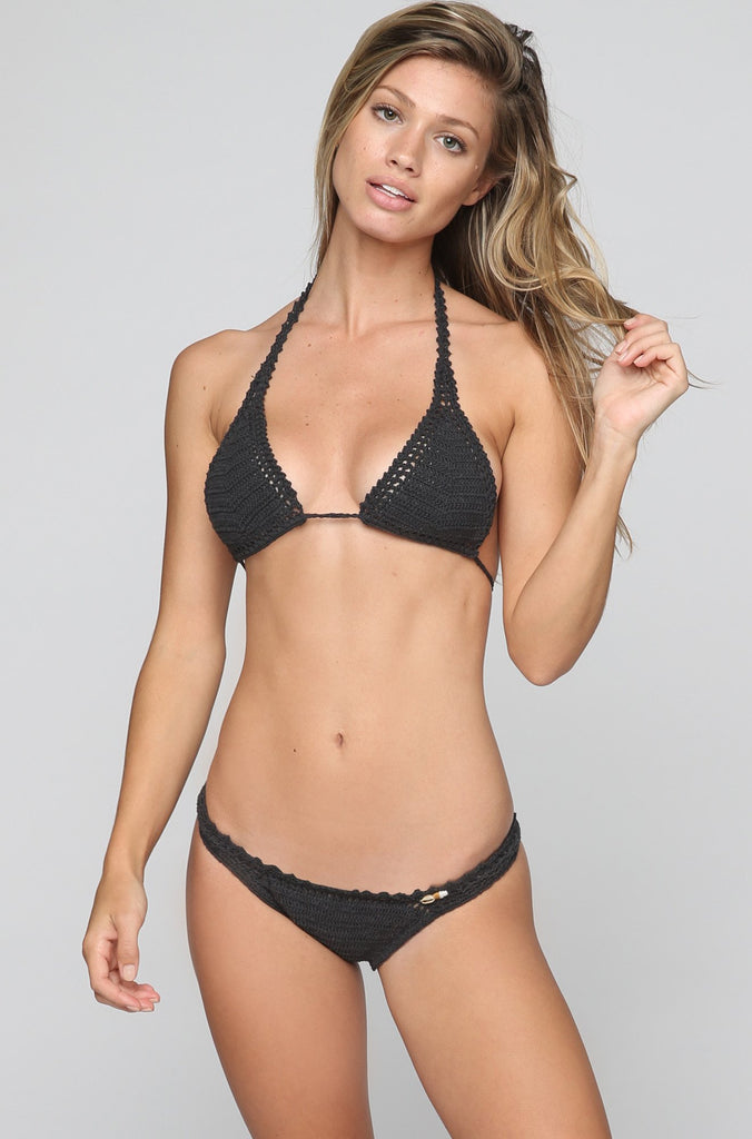 Crochet Cheeky Bikini Bottom in Charcoal