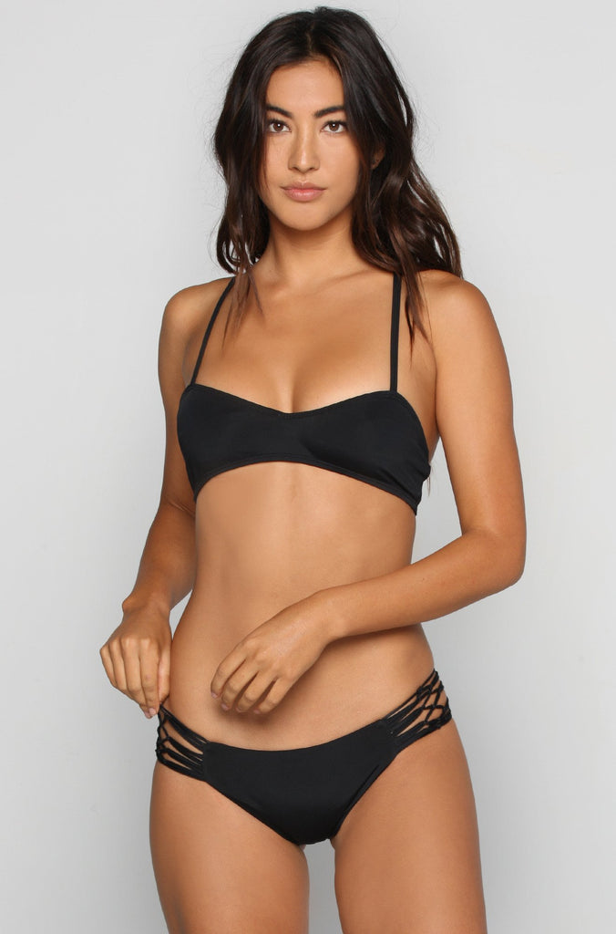 Siempre Golden La Jolla Bikini Top in Midnight|ISHINE365 - 3