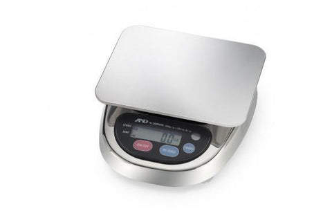 A&D Weighing HL-3000LWP Compact Washdown Scale, 3000g x 1g with Large Pan with Warranty