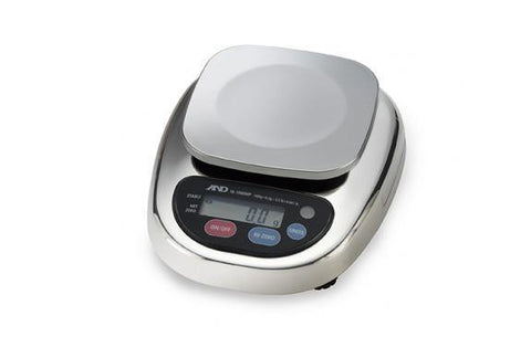 A&D Weighing HL-3000WP Compact Washdown Scale, 3000g x 1g with Small Pan with Warranty