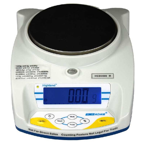 Adam Equipment HCB 1202aM 1200g, d=0.01g e=0.1g, Highland Approved Portable Precision Balance - 24 Month Warranty
