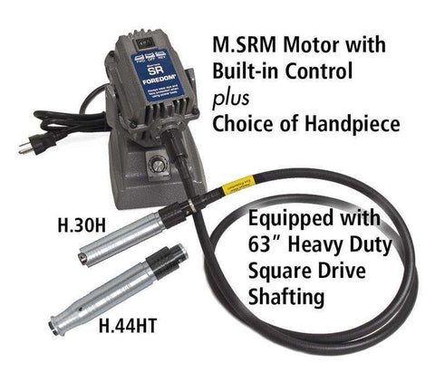 SRMH Bench Motor with Built-in Control Sq. Drive Shafting Choice of Handpiece, Handpiece Set, Foredom, Ramo Trading