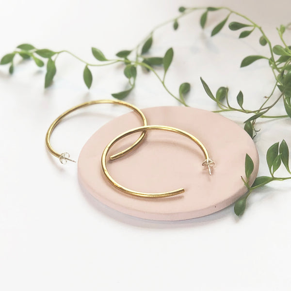 Large Hoop Brass Earrings by Clare Elizabeth Kilgour