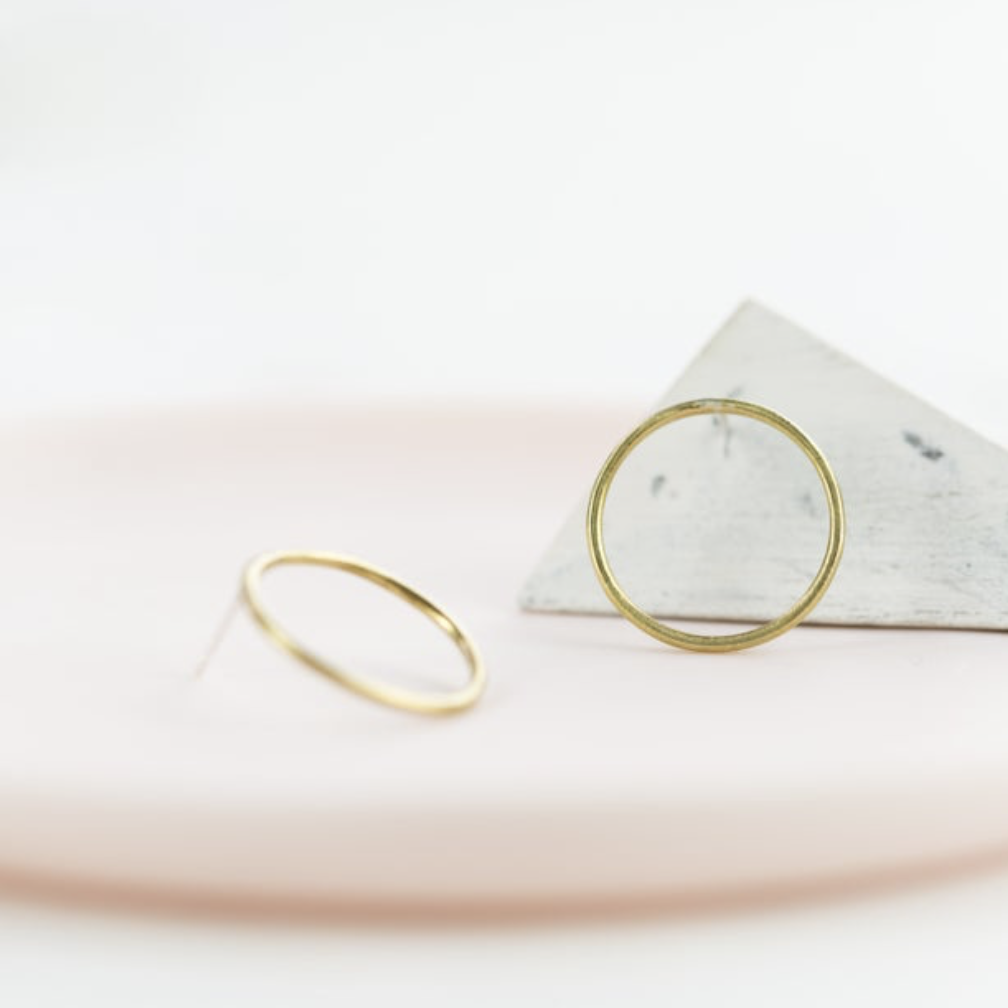 Round Brass Earrings by Clare Elizabeth Kilgour
