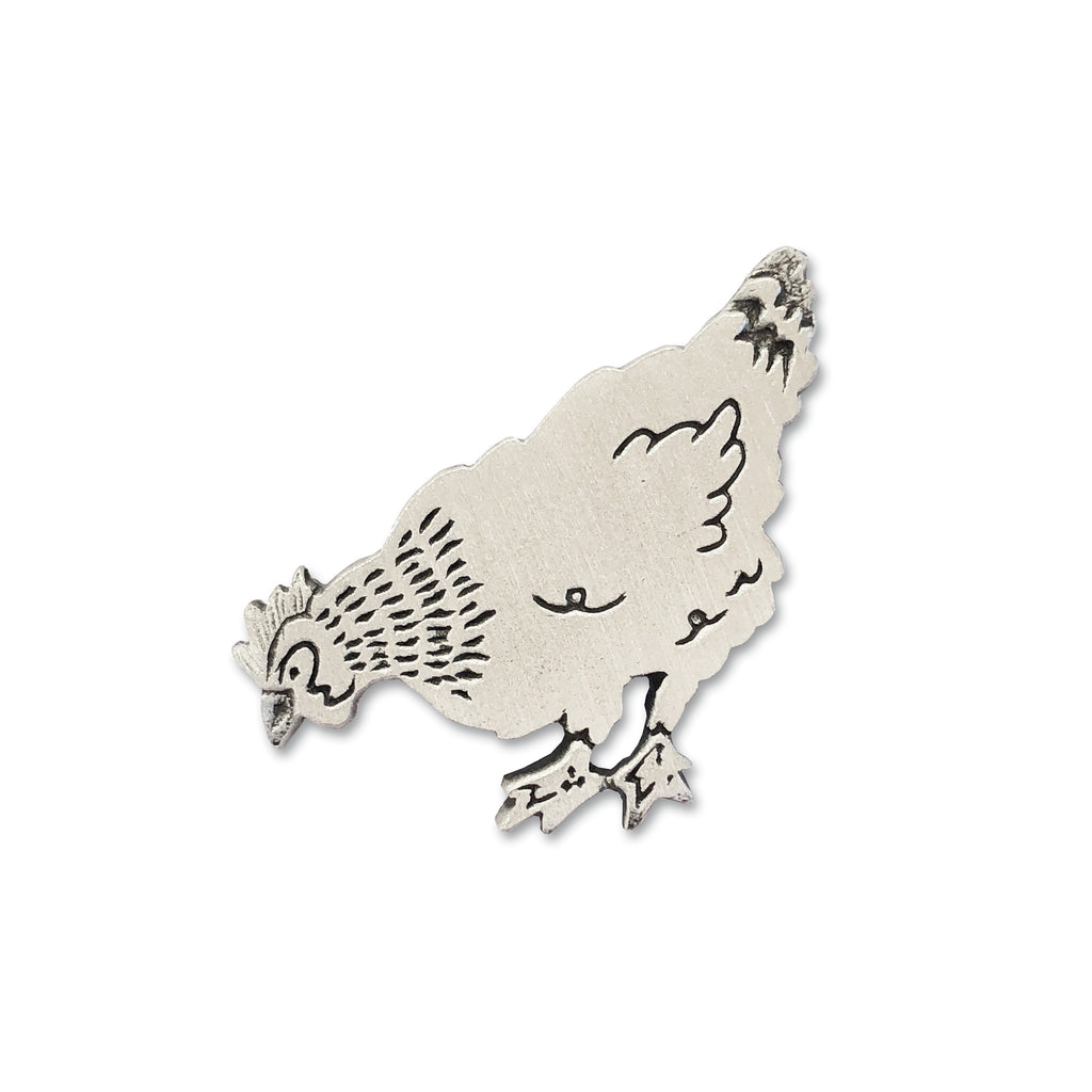 Cast Pewter Chicken Brooch
