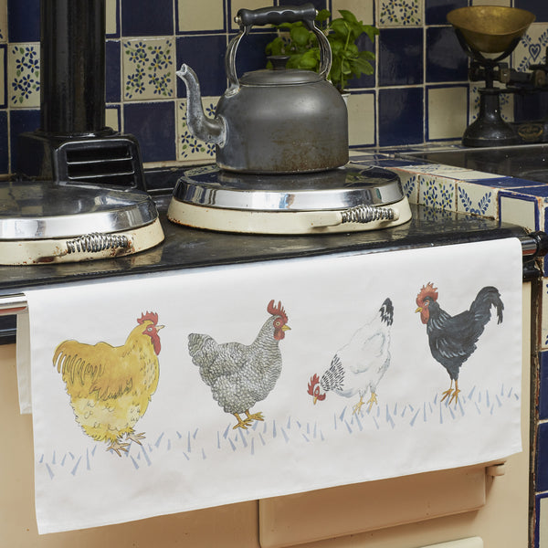 Country Chickens Tea Towel