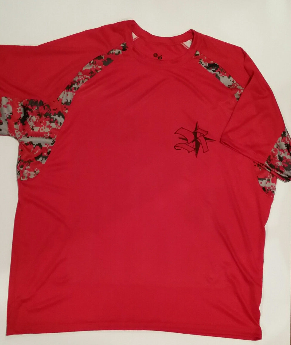 Fitness Men's Shirt in Red with Camo 100%Poly Light and Cool with Rockstar WOL Logo on back