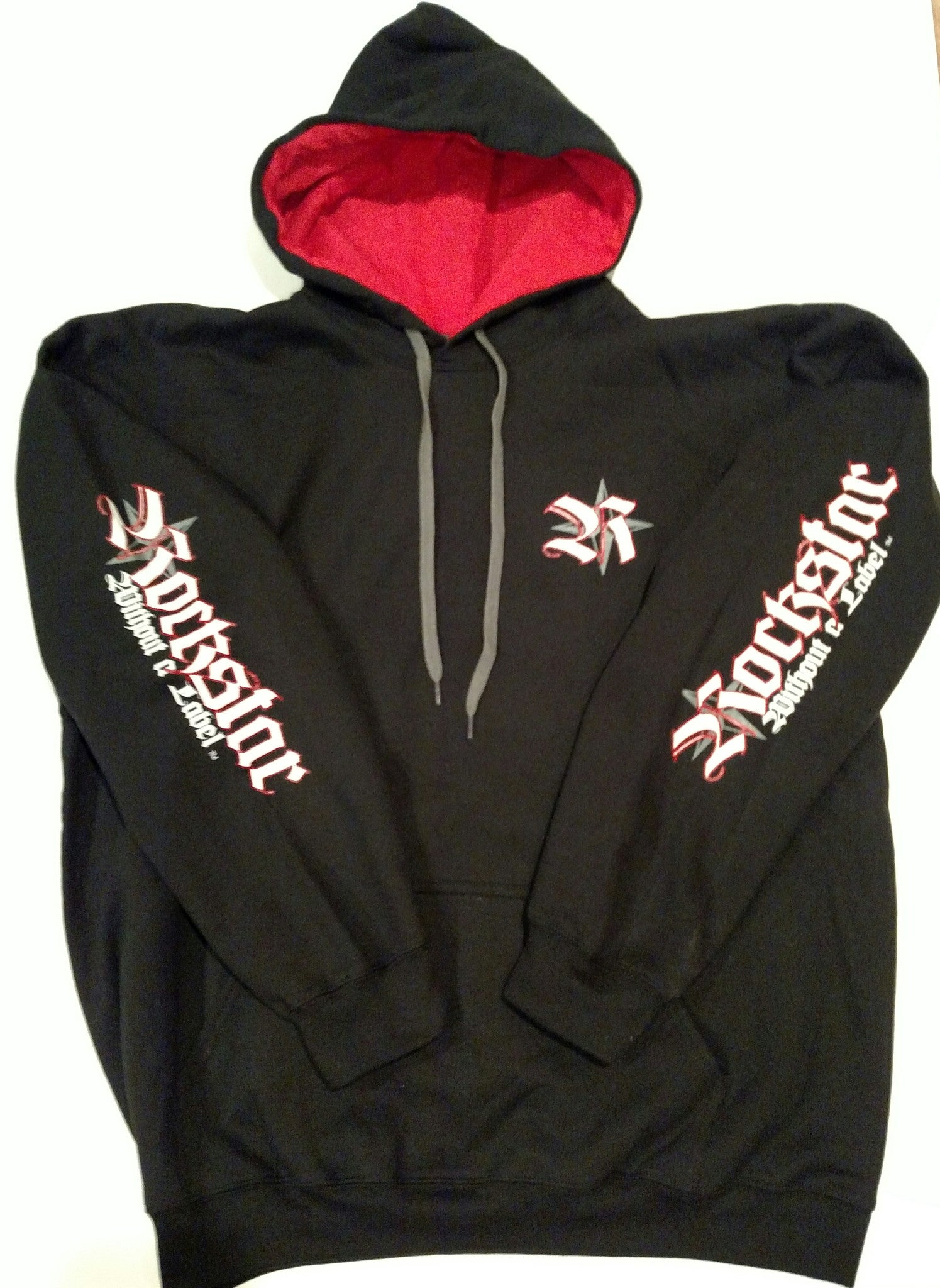 Hoodie New Black with Red inside Hood and Rockstar Without a Label Logo on sleeves and back
