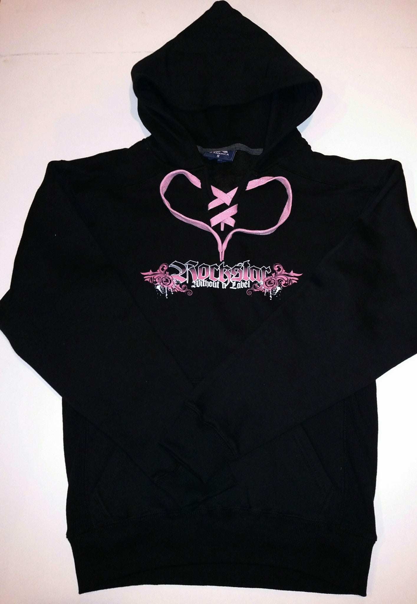 Hoodie New Girls Black with Pink Lace and Logo