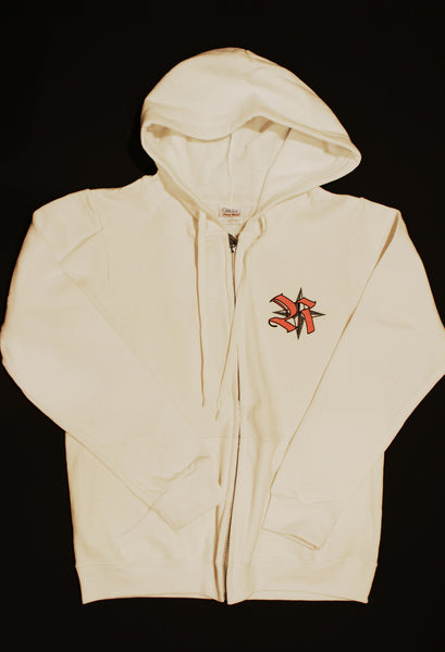 Hoodie Zip front in white with NEW Rockstar Logo on back in Pink