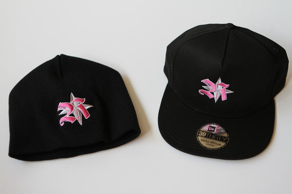 Hats&Skullies/Black with Pink Logo