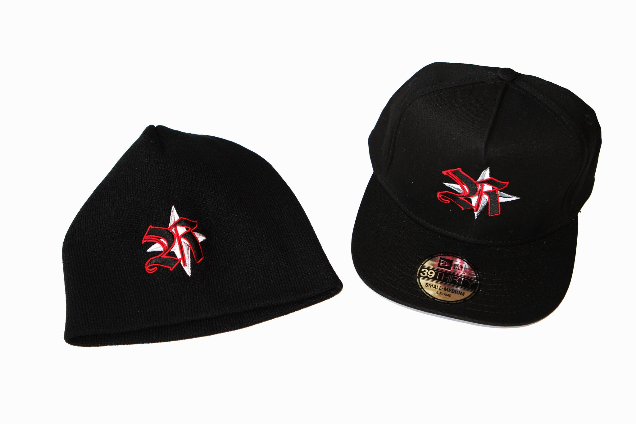 Hats&Skullies/Black with Red Logo