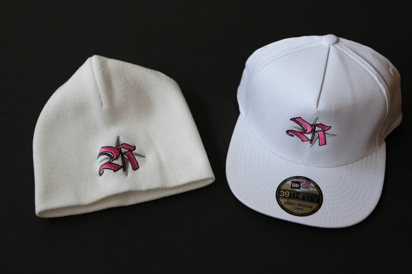 Hats&Skullies/White with Pink Logo