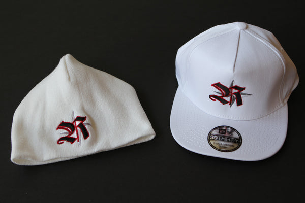 Hats&Skullies White with Red Logo