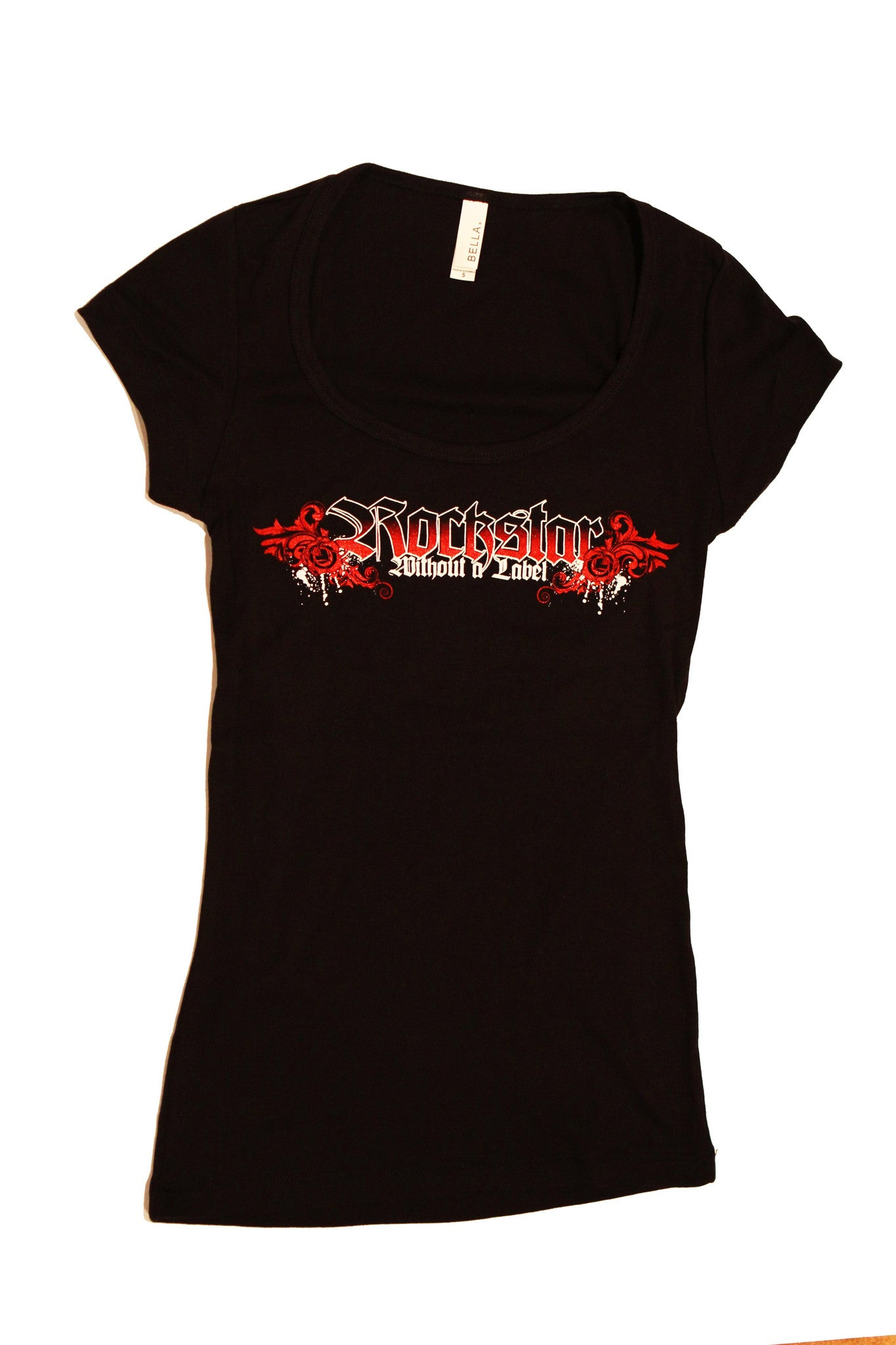Tank Top Short Sleeve Womens T shirt in Black with Red Rockstar logo