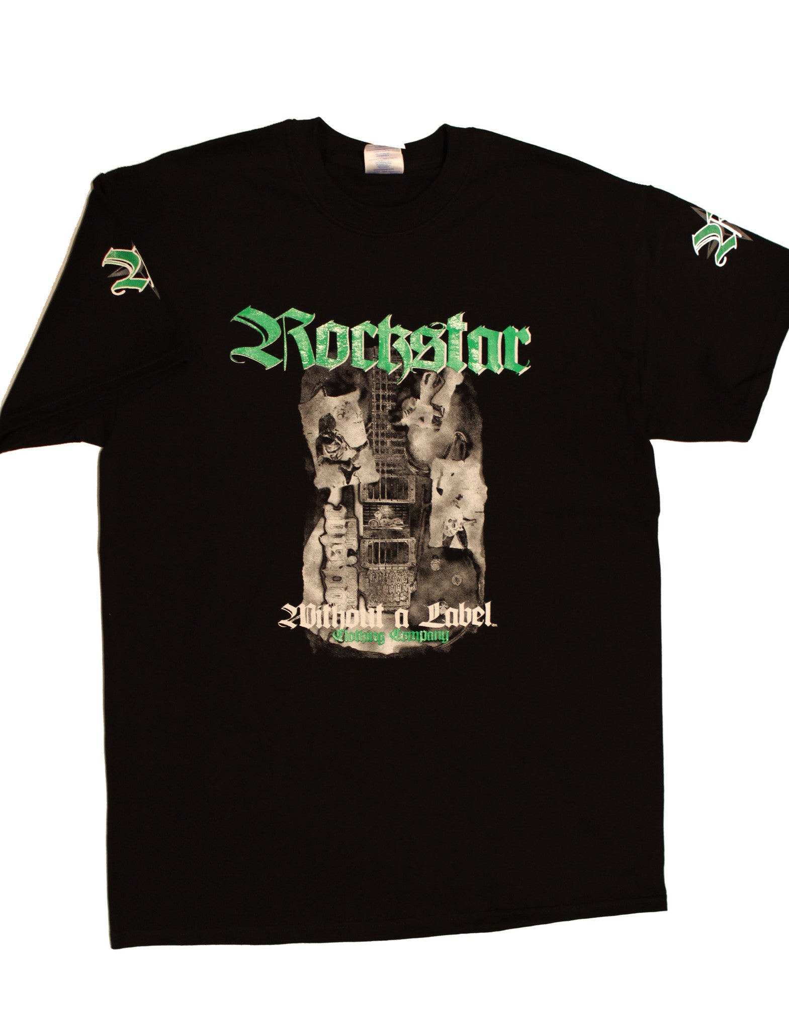 "T- Shirt Black with Green Rockstar ""Road Life"" Design"