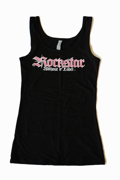 Tank Top/Womens Black with Pink&White Logo