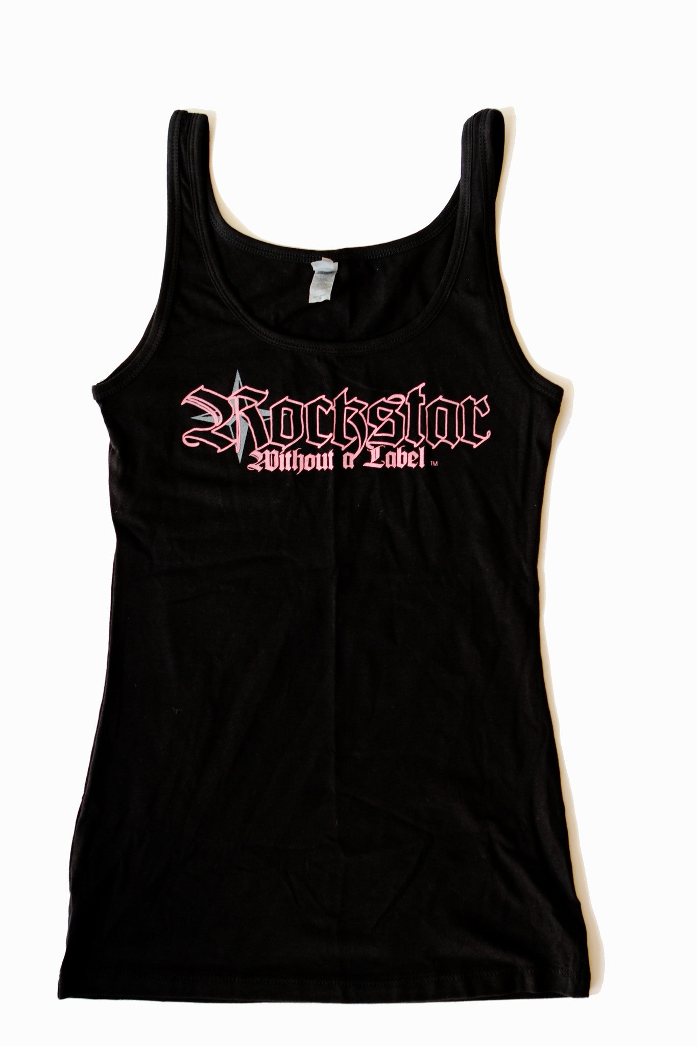 Tank Top/Womens in Black with Pink Outline Logo