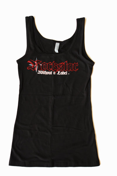 Tank Top/Womens Black with Red Outline Logo