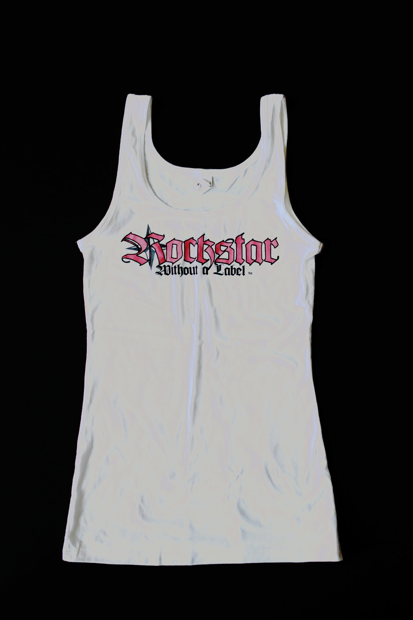 Tank Top/Womens in White with Pink Logo
