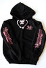 Hoodie /Womens Black with Pink Lace