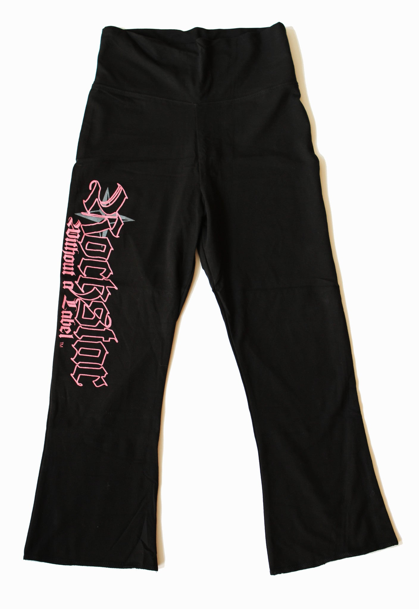 "Yoga/Capri Pant/Ankle Flair with  ""Rockstar logo"" on Leg in Pink."