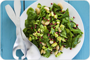 Alkaline Diet Recipe: Spinach and Pomegranate Salad with Tarragon Lemon Dressing
