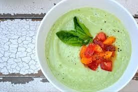 Chilled Avocado, Cucumber, watercress soup
